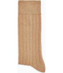 mens brown camel ribbed socks