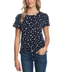cece floral-print ruffled-sleeve top