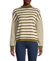 madewell women's stripe play knit sweater - beige green - size xxs