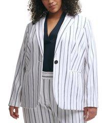 calvin klein trendy plus size striped blazer