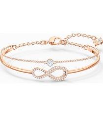 bracciale rigido swarovski infinity, bianco, placcato color oro rosa