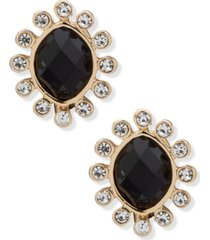 anne klein gold-tone black stone clip-on button earrings