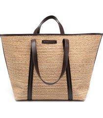 brunello cucinelli woven straw tote bag - neutrals