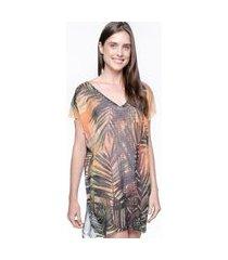blusa 101 resort wear saida de praia estampada crepe decote v folhas
