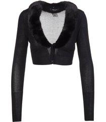 blumarine black cropped cardigan with mink collar