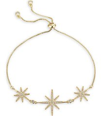 eye candy la women's north star 18k goldplated cubic zirconia chain bracelet