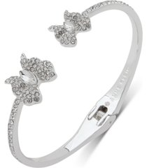 anne klein silver-tone crystal butterfly hinge bangle bracelet