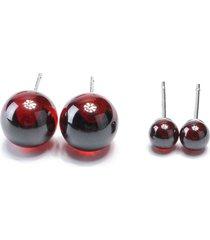 orecchini in argento sterling 925 piccoli orecchini a forma di palla con agata rossa naturale per orecchini da donna