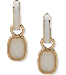 anne klein gold-tone mother-of-pearl charm & white inlay hoop earrings