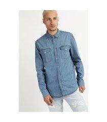 camisa jeans masculina com botões manga longa azul