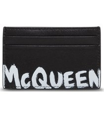 alexander mcqueen leather card holder with logo print