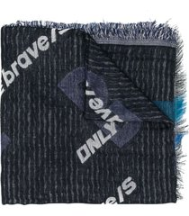 diesel printed logo denim scarf - black