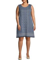 plus sleeveless printed shift dress