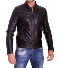 handmade men leather jacket, men's slimfit black biker leather jacket, fashion