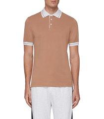 contrast stripe collar cotton piquet polo shirt