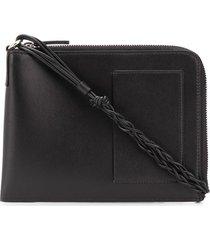 jil sander braided-strap pouch - black