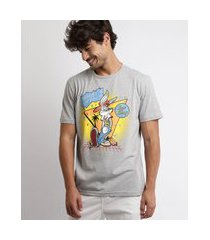 camiseta masculina pernalonga looney tunes manga curta gola careca cinza mescla claro