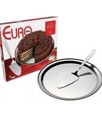 conjunto para bolo 2 peã§as inox euro - incolor - dafiti