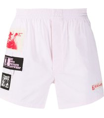 raf simons patch-detail track shorts - pink
