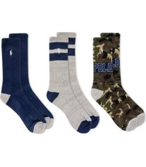 polo ralph lauren men's camo 3-pk. crew socks