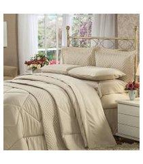 cobre leito solteiro plumasul soft touch percal 300 fios marrom