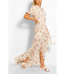 floral puff one shoulder ruffle maxi dress, pink