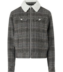 jacka wool check sherpa jacket