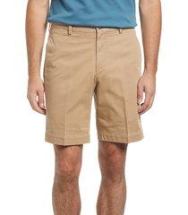 berle charleston flat front chino shorts, size 38 in british tan at nordstrom