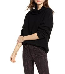 women's chelsea28 rib funnel neck sweater, size large - black