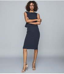 reiss claudine - draped knitted dress in navy, womens, size xl