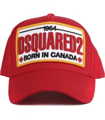 dsquared2 red dsq2 cotton hat
