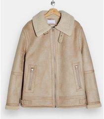 mens stone shearling aviator jacket