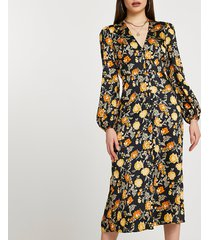 river island womens black floral belted midi dress