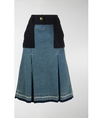 sacai box-pleat denim panelled skirt