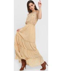 vestido beige sophya evelyn