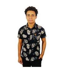 camisa estampada casual camaleão urbano caveira mexicana black roses
