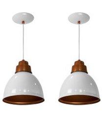 kit 2 lustres pendentes karina de alumínio branco c/ cobre