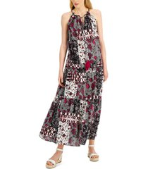inc petite tiered halter-neck maxi dress, created for macy's