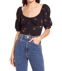 women's free people play date floral print stretch cotton bodysuit, size x-large - black