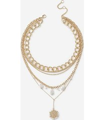*pearl coin multirow necklace - cream