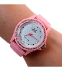 reloj q&q escarcha rosa dayoshop