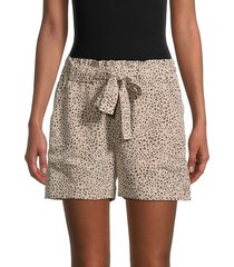 sanctuary women's wild-print self-tie shorts - mini leopard - size s