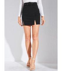 falda con diseño de hendidura con cinturón negro yoins