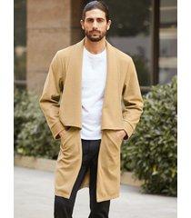 chaqueta de punto medio de abrigo informal de color sólido para hombre
