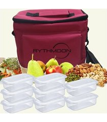 kit bolsa térmica tipo keeppack pink + 8 refeições rythmoon