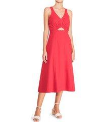 parker women's tallulah keyhole a-line dress - jungle red - size 16