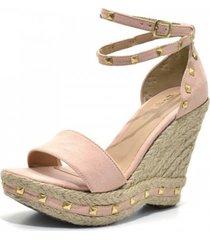 sandália anabela stefanello 3021 rosa bebe
