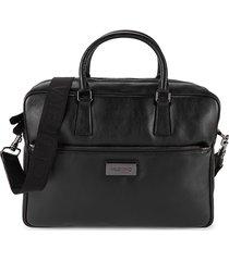 valentino by mario valentino men's adam vachette leather messenger bag - black