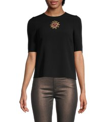 dolce & gabbana women's embroidered heart top - black - size 36 (2)