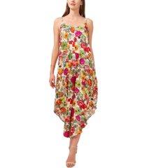 msk cropped floral-print jumpsuit